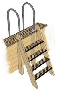 echelle de meunier pour piscine bois maeva. Black Bedroom Furniture Sets. Home Design Ideas