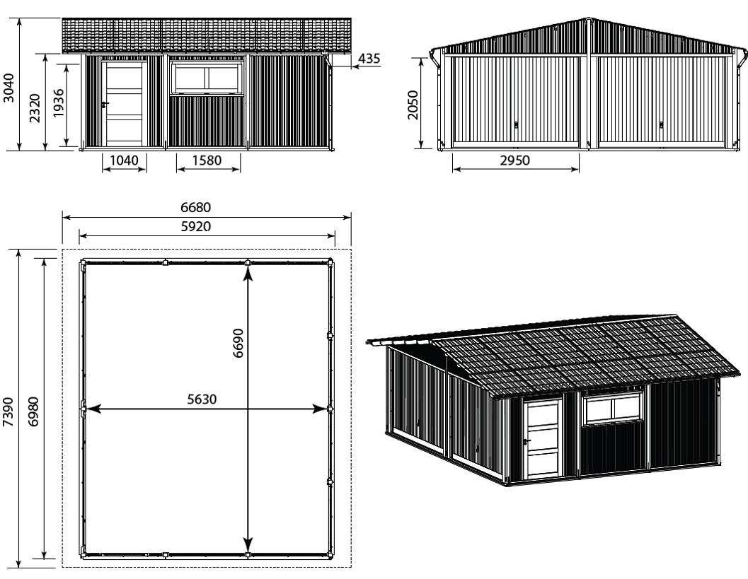 Garage en bois durapin 40 m for Plan de garage